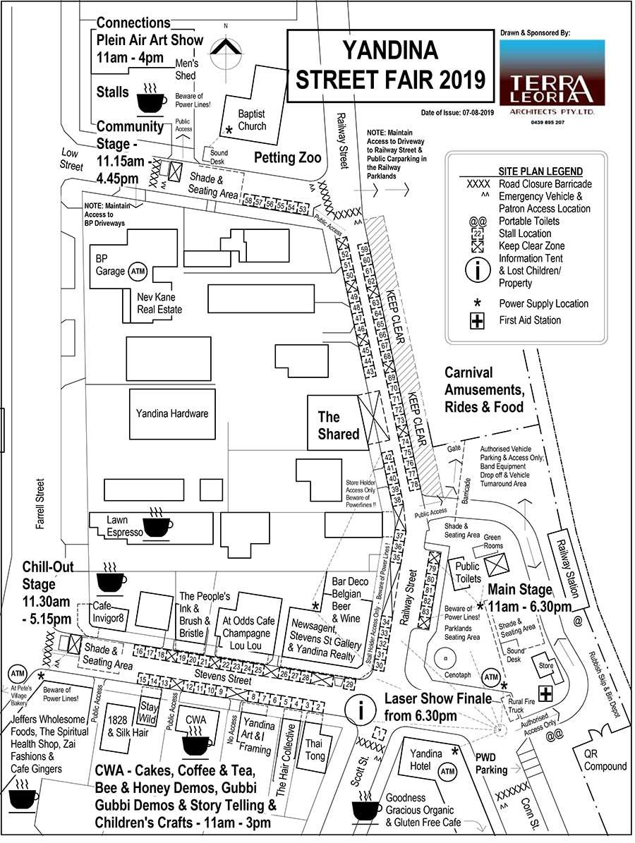 Yandina Street Fair 2019 street map