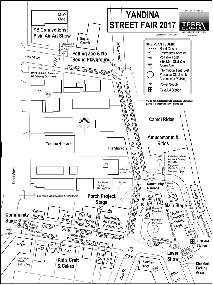 Yandina Street Fair 2017 Site Map
