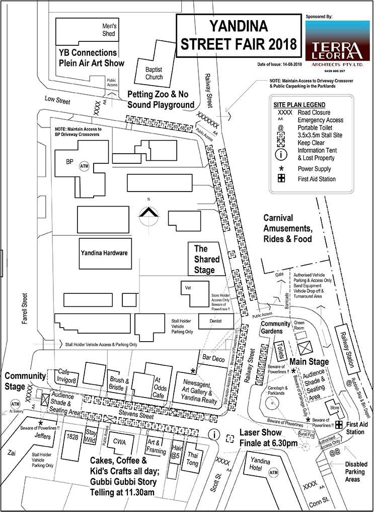 Yandina Street Fair 2018 Site Map