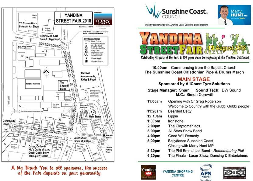 Yandina Street Fair 2018 program page 1